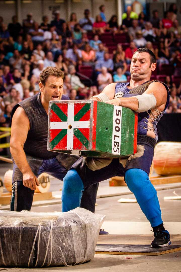 Basque Country athletes compete in sporting events rooted in farm work. Jaialdi 2015