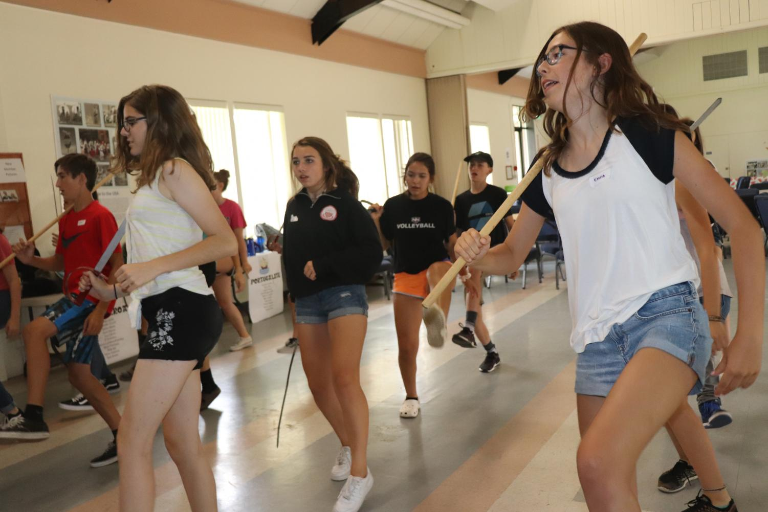 Campers learn Basque dances for an upcoming performance.