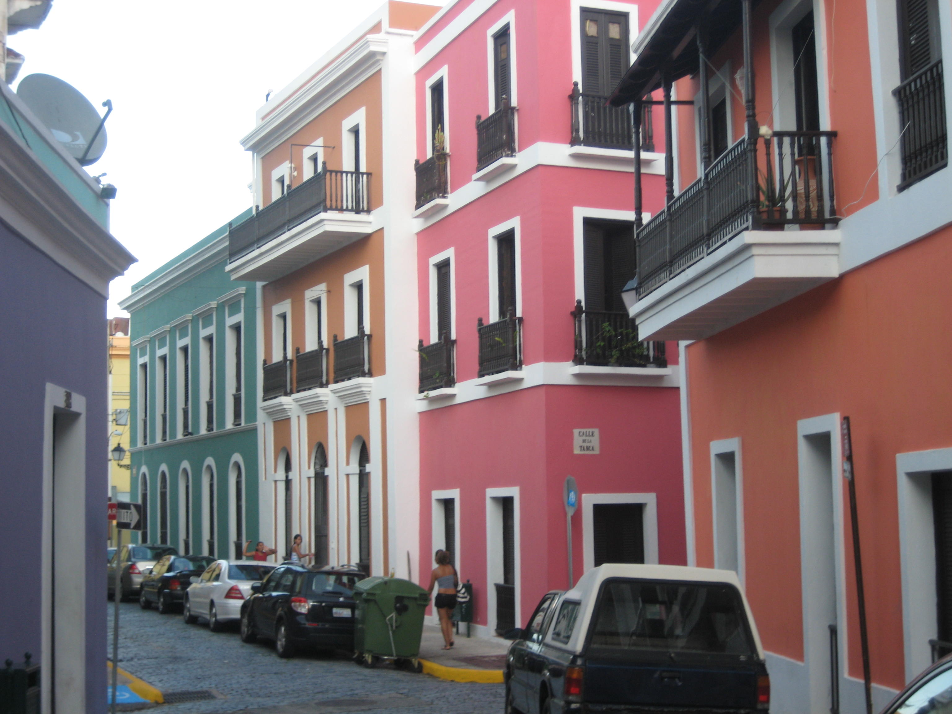 Houses in Old San Juan are painted bright pastel colors.